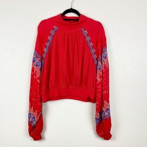 Free People Long Sleeve Embroidered Red To…